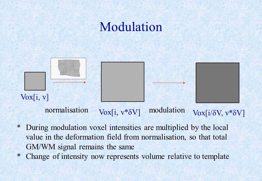 Modulation Vox[i, v] normalisation modulation Vox[i, v*δV]